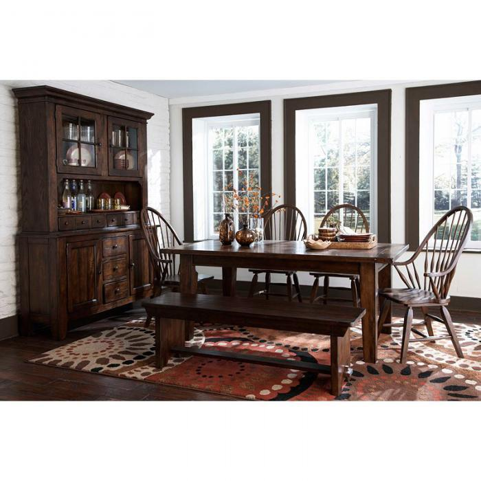 Alabama Furniture Market Attic Heirlooms Rustic Oak 6 Piece Dining Set With Bench